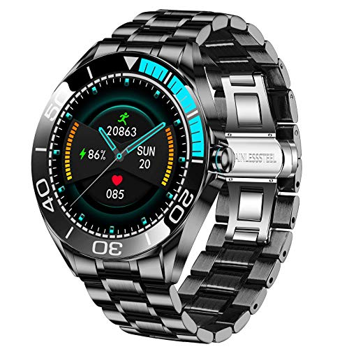 LIGE Herren Smart Watch, IP67 wasserdichte Fitness Tracker Uhren mit Herzfrequenz Blutsauerstoff Blutdruck Überwachun Voll Touchscreen Smartwatch Edelstahlband für Männer für iOS Android Phone