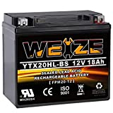 Weize YTX20HL-BS Battery, High Performance - Maintenance Free - Sealed AGM ETX20HL BS Motorcycle Battery