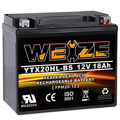 WEIZE YTX20HL-BS Battery, High Performance - Maintenance Free - Sealed AGM ETX20HL BS Motorcycle...