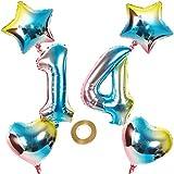 Globos con número 14, número 14, arco iris 14, 14 números, 80 cm, XL para niñas y niños, hinchables, forma de corazón