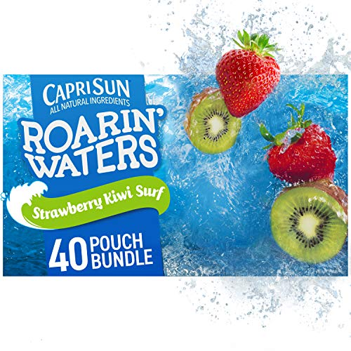 Capri Sun Strawberry/Kiwi Roarin' Waters Strawberry Kiwi Surf Ready-to-Drink Juice (40 Pouches, 4 Boxes of 10) 240 Oz (Pack Of 4)