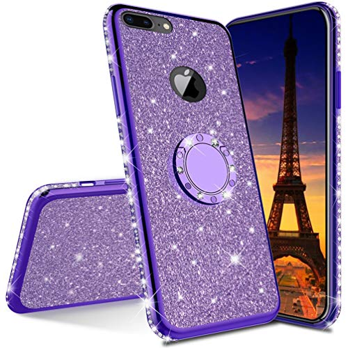 COTDINFOR Huawei Y6 2018 Funda Glitter Diamond Bling Protective Phone Case Luxury with Kickstand Plating TPU Anti-Arañazos Suave Silicona Carcasa for Huawei Honor 7A / Y6 2018 - Purple Glitter