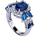 YAZILIND Elegant Royal Crystal Flower Topaz Rings Wedding Jewelry for Women Size8