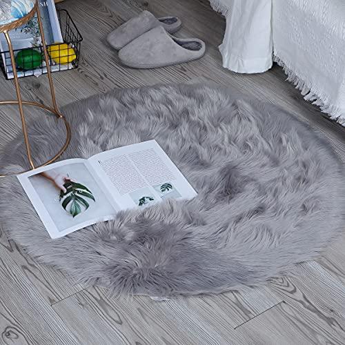 Tapis en Fausse Fourrure |ZCZUOX Carpette Moelleuse Chambre à Coucher, Salon, Crèche | Décoratif Coussin de Chaise Canapé Natte (Gris, 90x90cm)