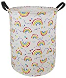 HUAYEE 19.7 Inches Large Laundry Basket Waterproof Round Cotton Linen Collapsible Storage bin with Handles for Hamper Kids Room,Toy Storage (Rainbow)