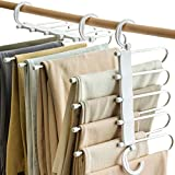 Vitalome Pants Hangers 5 Layers Stainless Steel Non-Slip Space Saving Clothes Closet Storage Organizer for Pants Jeans Trousers Skirts Scarf(White 2 Packs)