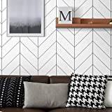 Peel and Stick Wallpaper Stripe Removable Contact Paper 17.71 in X 118 in Black/White Self Adhesive Wallpaper Modern Durable Line Up Easily for Home Decoration Old Furniture Renovation