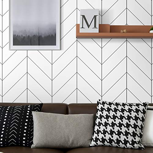 Peel and Stick Wallpaper Stripe Removable Wallpaper 17.71 in X 118 in Black/White Self Adhesive Wallpaper Modern Durable Line Up Easily for Home Decoration Old Furniture Renovation