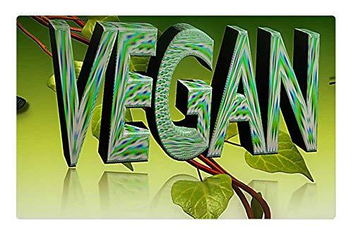 LESGAULEST Doormat Floor Rug/Mat (23.6 x 15.7 inch) - Vegan Green Nutrition Setting Meatless Healthy