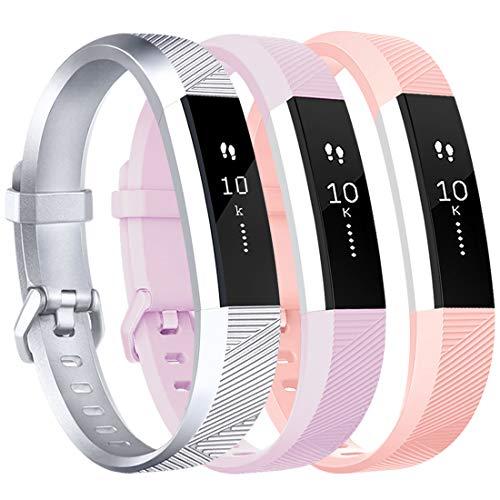 Tobfit Cinturino per Fitbit Alta e Fitbit Alta HR Cinturino Morbido Regolabile (Fitness Tracker Non Incluso) (Silver+Lavender+Pink, Small)