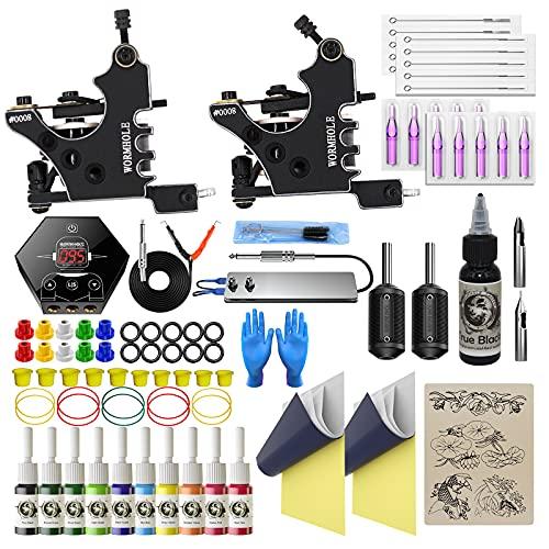Tattoo Kit for Beginners Tattoo Gun Kit 2pcs Starter Tattoo Machine Kit Complete Tattoo Kit 10...