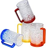 Double Wall Gel Frosty Beer Mugs, Freezer Ice Mugs, Drinking Glasses 16oz, Clear Set of 4, Assorted Colors (Red, Yellow, Blue, Orange)