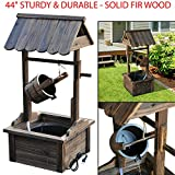 44' Sturdy & Durable Wishing Well Wooden Outdoor Electric Water Fountain Backyard Decorative with Ul Certified Electric Pump Perfect for Your Backyard, Patio, Or Garden