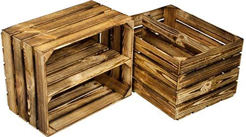 Kistenbaron Holzkiste im Vintage Look - Obstkiste Weinkiste Dekoration - Geflammt - 50 x 40 x 30 2er Set Ablage lang/quer