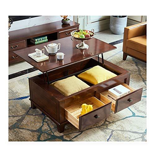 XINKO Tavolino da caffè Moderno con Piano rialzato con 2 cassetti e ripiano portaoggetti - Piano da Tavolo Pop-up per Sala Reception del Soggiorno