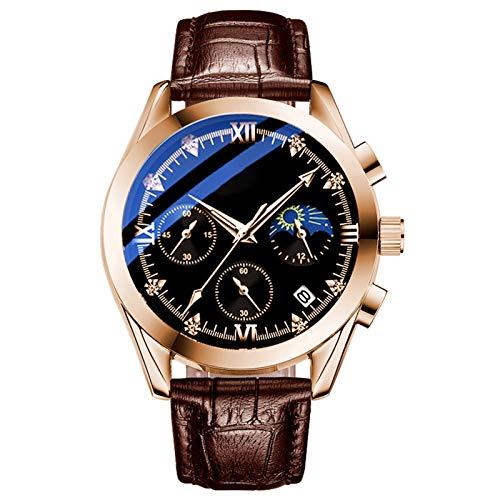 QHG Reloj de Cuarzo del cinturón de los Hombres Forme el Regalo Impermeable, la Moda del Negocio, el Reloj de los Hombres, el Reloj de Cuarzo Multifuncional, Multifuncional (Color : A)