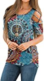 NILOUFO Womens Summer T Shirts Short Sleeve Tunic Strappy Cold Shoulder Tops(01-Flower Mix Blue, Medium)