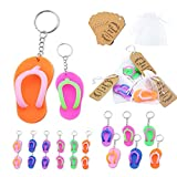 Flip Flop Keychains Summer Pool Beach Party Favors 24 Pack with Thank You Tag Cards and White Gift Bag Key Chains Goodie Gifts Bag Decor for Pool Luau Cool Summer Theme Birthday Party Baby Shower Gifts