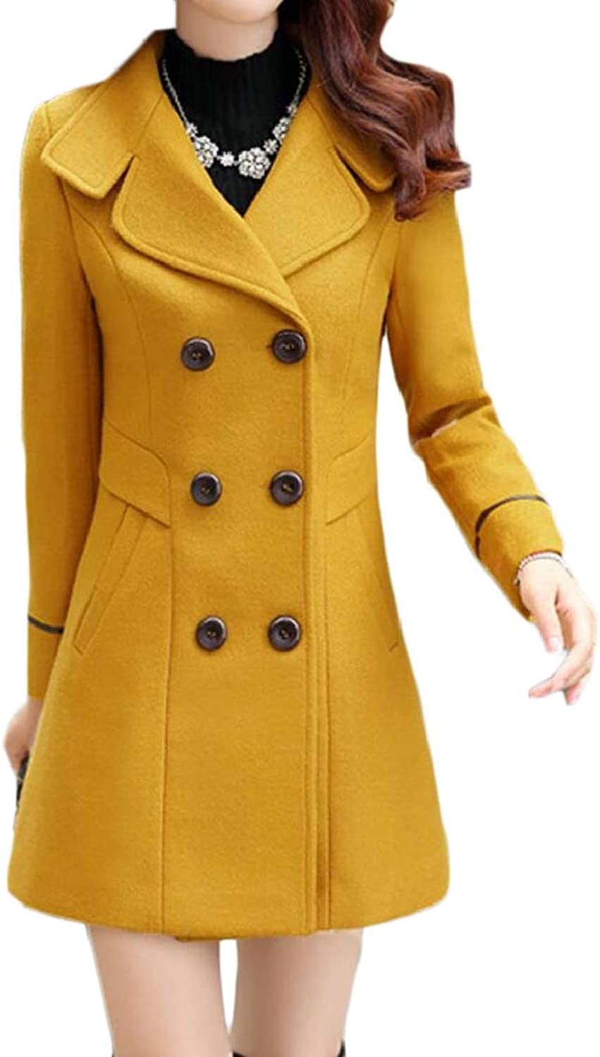 QDCACA Women Casual Double Breasted Wool Blend Slim Fit Overcoat Pea Trench Coat