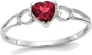 14K White Gold Natural Red Garnet Heart Promise Ring 1/2 Carat (ctw)
