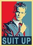 GREAT ART Cartel Azul Rojo Barney Stinson - 85 x 60 cm Mural cmo conoc a tu Madre Traje pster Impresionante decoracin roja y Azul Actor de Comedia xito - DIN A1c