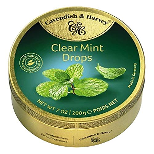 Cavendish & Harvey Clear Mint Drops - Bonbons, 200g in Metalldose