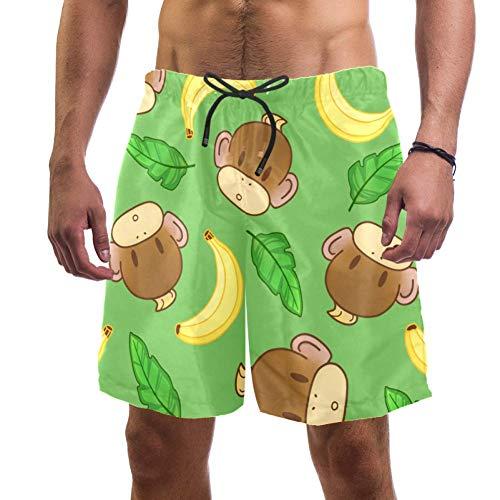 Vockgeng Bañadores para Hombre Dibujos Animados Mono plátano Leisure Pantalones Shorts Playa Surf Trajes De Baño para Hombre L