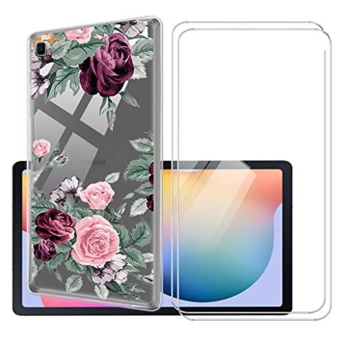 LKJMY para Samsung Galaxy Tab S6 Lite 10.4 Tableta Funda + 2 Piezas Cristal Templado,Transparente Carcasa Silicone Case Bumper,Anti-Golpes Cover Anti-Rasguño Cover Caso,Vidrio Templado-LKJA21