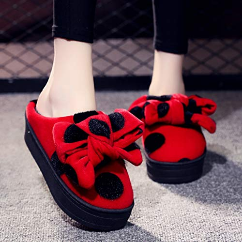 UXZDX Zapatillas Mullidas para Mujer, Tacones Altos, Zapatos De Piel Cálidos De Invierno, Bonitos Toboganes De Felpa para El Interior del Hogar, para Mujeres Y Niñas (Color : Red, Size : 36)
