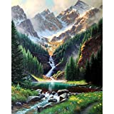 Kits de pintura por números para adultos, principiante, paisaje de montaña de nieve, imagen por número, decoración del hogar enmarcada