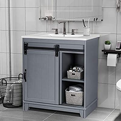 HOOSENG Single Bathroom Vanity Sink Combo - 30'' Sliding Barndoor Storage Cabinet, Compact Design   Sturdy Structure   Easy Assembly, Grey