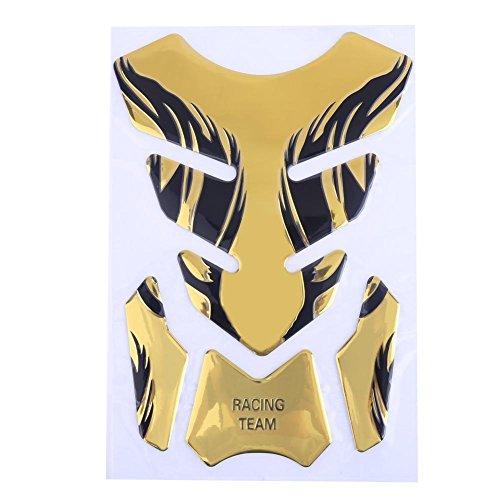 Demiawaking Adesivo Serbatoio Moto Universale Adesivo Fiamma 3D Protezione per Serbatoio Carburante Moto per YAMAHA Honda (Oro)