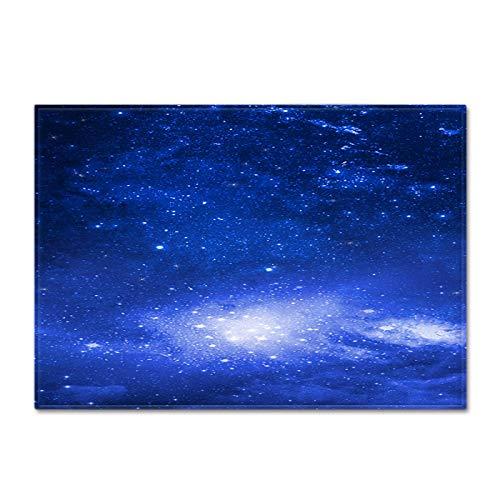 DRTWE Alfombra de Terciopelo Suave Alfombra Azul Estrellado Cielo Impreso Alfombra para la Sala de Estar decoración Dormitorio Pasillo Antideslizante Piso Pad niños guardería Jugar Mate,152 * 124CM