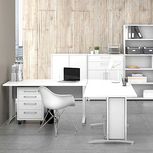 Pharao24 Schreibtisch Winkelkombination in Weiß 200 cm Breit