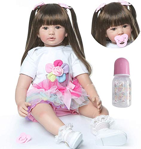 Pinky 24 inch 61cm Lovely Reborn Baby Girl Dolls Toddler Realistic Looking Life Like Baby Doll Vinyl Silicone Long Hair Babies Toy Gift