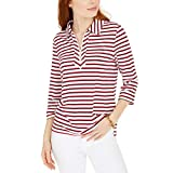 Tommy Hilfiger Womens Striped 1/2 Zip Polo Top Red XS