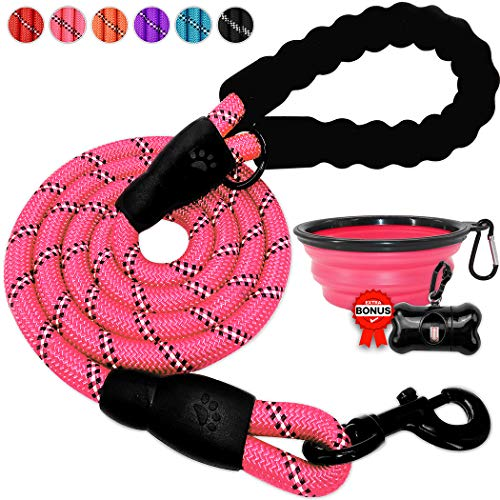 BARKBAY Dog leashes for Large Dogs Rope Leash Heavy Duty Dog Leash with Comfortable Padded Handle and Highly Reflective Threads 5 FT for Small Medium Large DogsPink