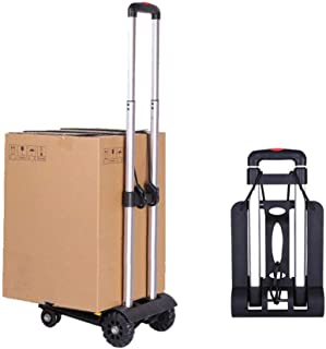 Folding Luggage cart, Sanoto Portable Lightweight Hand Cart Dolly with 4 Wheels for Baggage, Boxes Carrier, 150 lbs Utilit...