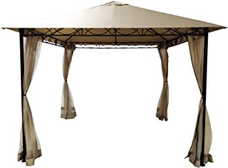 DikaSun Outdoor Gazebo Canopy Tent 10' x 10' Single Roof Gazebo with Netting, with Adjustable Top Corner Tubes Gazebo for ...