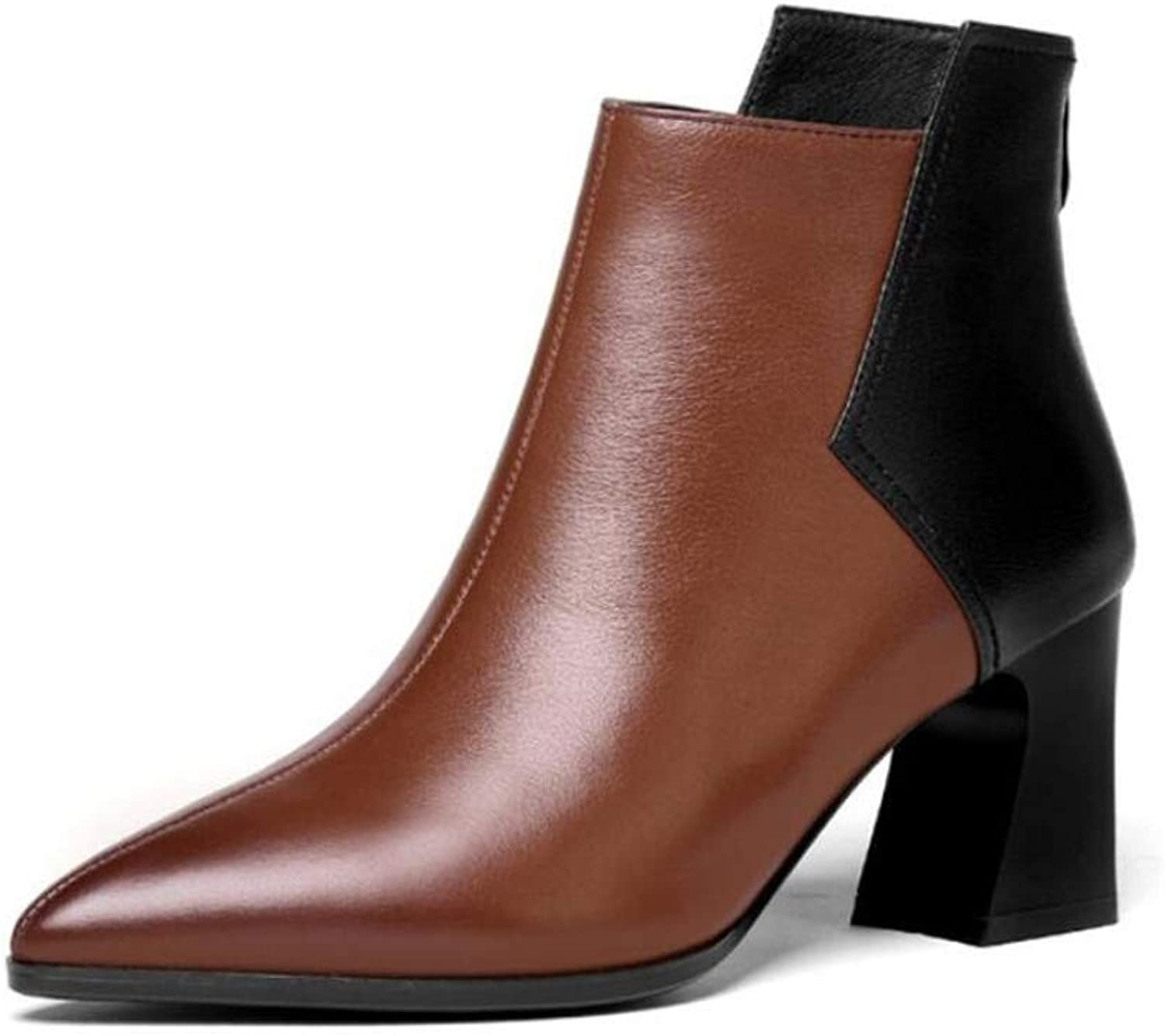 Womens Leather Ankle Boots Winter Snow Flat Chelsea Boots Biker Casual Booties shoes Ladies Comfortable Anti-Slip Martin Boots