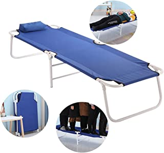 Single Folding Bed Frame,Folding Bed Home Recliner Office Nap Bed Outdoor Camping Bed Portable Bed, Light Blue 180 * 60 * 30Cm