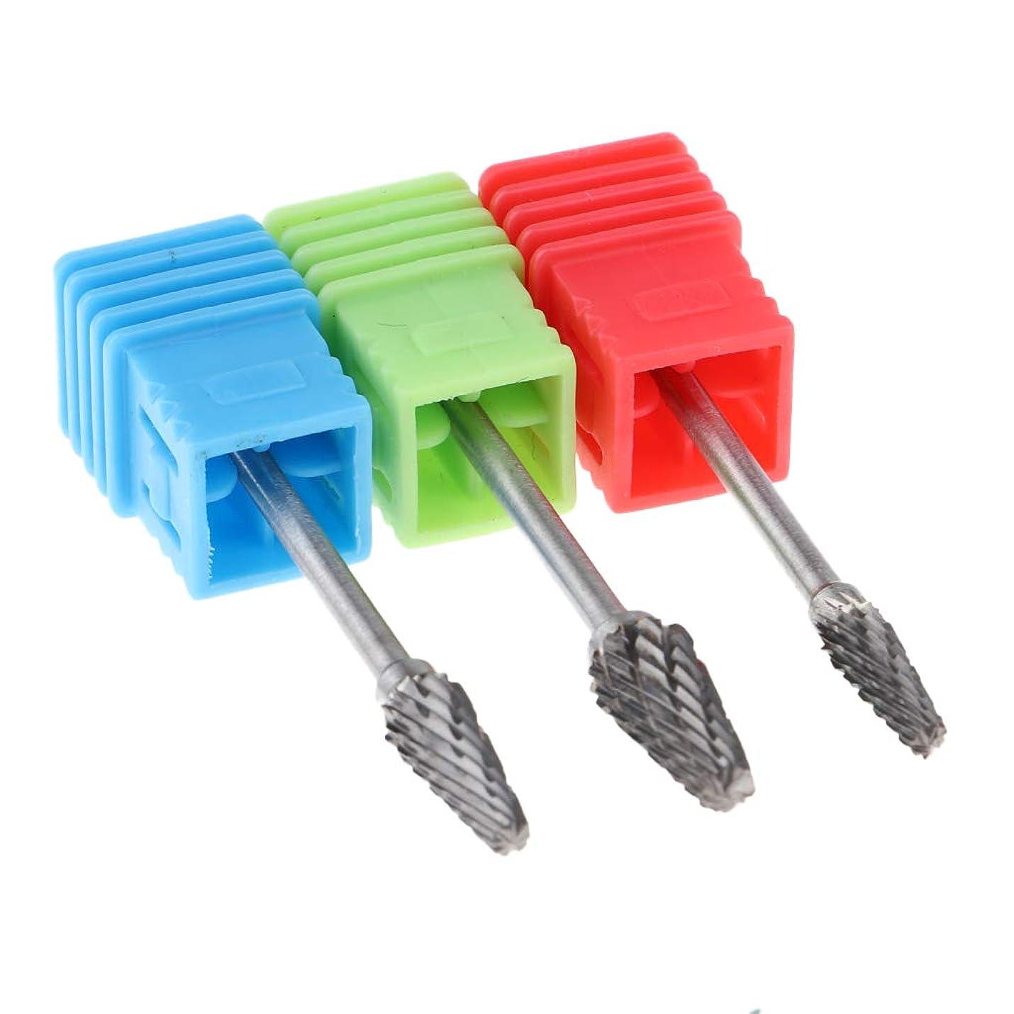 める動揺させるマッサージP Prettyia 超硬 ネイルドリルビット フレーム 3個 ネイルチップ 研削 研磨ヘッド