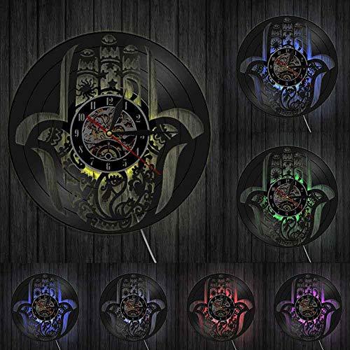 Disco de Vinilo Reloj de Pared con luz LED Hamsa Mano de Fátima Reloj de Pared 3D Reloj de Vinilo Arte Creativo Hecho a Mano Relojes Colgantes