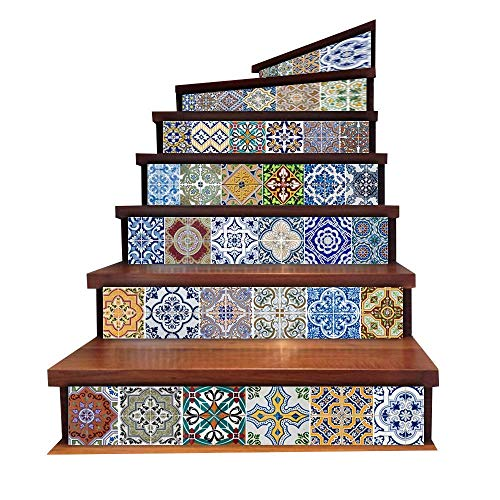 Mode Fliesenaufkleber Backsplash Wasserdicht Treppen Aufkleber Keramikfliese Dekoratives Aufkleber Fensterfolie Einfacher Stil Landhaus Vintage Jugendstil Ornament ( Color : Colour , Size : Size )