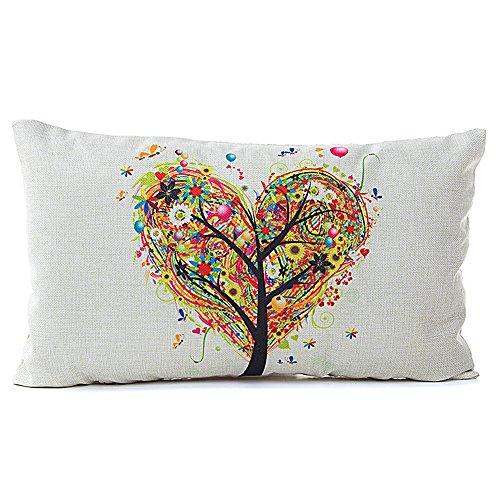 Fossrn Fundas Cojines de Rectángulo Forma de corazón y Árboles con Flor Lino Funda de Almohada Decoración para Hogar y sofá,Tamaño 30x50cm