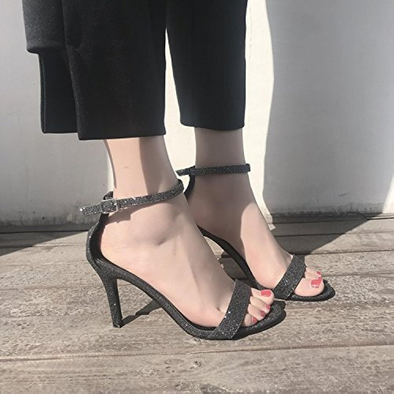 LHJY Women's shoes High Heels Summer Korean Edition Buckles Sandals Women's shoes Women's shoes