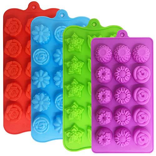 YuCool - Set di 4 stampi per cioccolatini, in silicone, 15 cavità a forma di fiore, per cubetti di ghiaccio, per matrimoni, feste e fai da te, colore: verde, blu, rosso e viola
