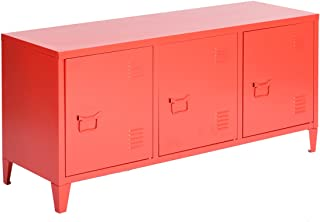 HouseinBox Office File Storage Metal Cabinet 3 Door Cupboard Locker Organizer Console Stand 3-in-1,Black (Red)