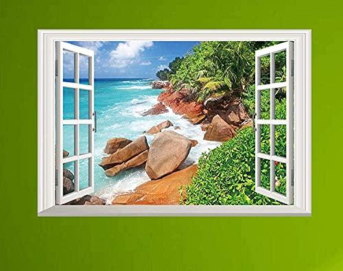 Fondo de pantalla Pegatinas de pared Playa Ventana Falsa Sala de estar Dormitorio Sofá Fondo Fondo Mural Ventana Falsa
