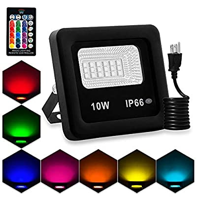 LED Flood Light,10W RGB Floodlight,Color Changing LED Floodlight Outdoor,IP66 Waterproof RGB LED Landscape Lamp,with Remote and US 3-Plug Garden Lights (Pack of 1)
